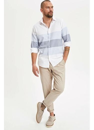 DeFacto Renk Bloklu Uzun Kol Gömlek Mavi